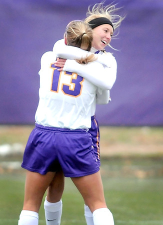 Pat Christman<br /> Minnesota State's Courtney Vallarelli gets a hug from teammate Korey Kronforst (13) after scoring a goal against Upper Iowa in the second half of their NSIC tournament semifinal game Friday.