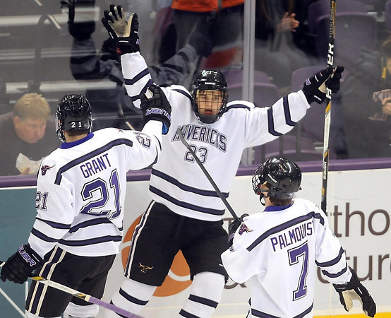 Pat Christman<br /> Minnesota State's Teddy Blueger celebrates a first period goal against Bowling Green Friday at the Verizon Wireless Center.