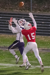 Mankato West's Josh Block (15) defends a pass thrown to Waconia's Jaden Vanderhoff in the second half of the Section 2AAAAA championship game. West will face Apple Valley in the quarterfinals of the Class AAAAA football tournament. Photo by Jackson Forderer