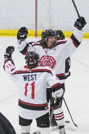 Mankato West's Emily Bloemke celebrates after scoring a goal against Worthington during Tuesday's game played at the All Seasons Arena. Bloemke scored a hat trick to lead the Scarlets to a 5-3 win. Photo by Jackson Forderer
