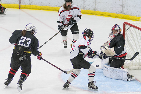 Mankato West's Sunshine Langworthy just misses connecting with an airborne puck flying through the crease as Worthington's goalie Lillyana Newman (right) and Madison Shreiner (left) look on in the second period of Tuesday's game. Photo by Jackson Forderer