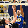 Mankato Loyola's Jordyn Strachan blocks a tip by Madelia's Emily Koehler during their first game Thursday at the Fitzgerald gym.