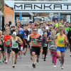 Runners depart from the starting line of the Mankato Marathon 5K race Saturday.