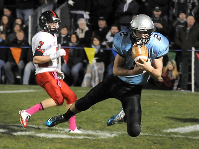 Pat Christman  Tri City United's Johnny Vinkemeyer (2) intercepts a Belle Plaine pass near the end zone during the first half Wednesday in Montgomery.