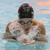 Sarah Patenaude of Mankato West swims the breast stroke leg of the 200-meter medley relay. Photo by Jackson Forderer