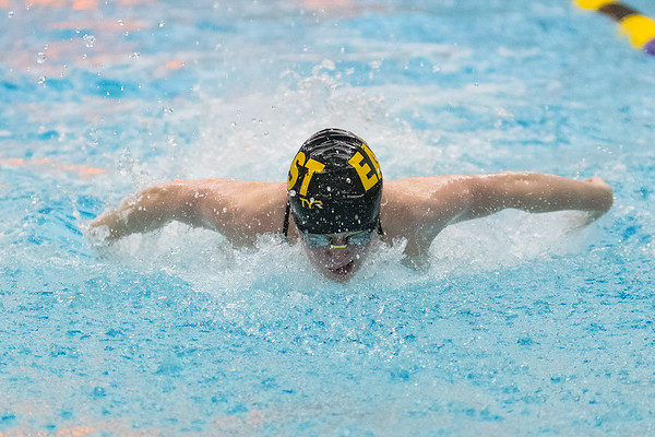 Grace Busch of Mankato East swims the butterfly leg of the 200-meter medley relay. Photo by Jackson Forderer