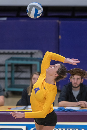Minnesota State's Dana Schindler goes up for a spike during the Mavericks match against the University of Minnesota-Duluth. The Mavericks lost to UMD in three straight games. Photo by Jackson Forderer