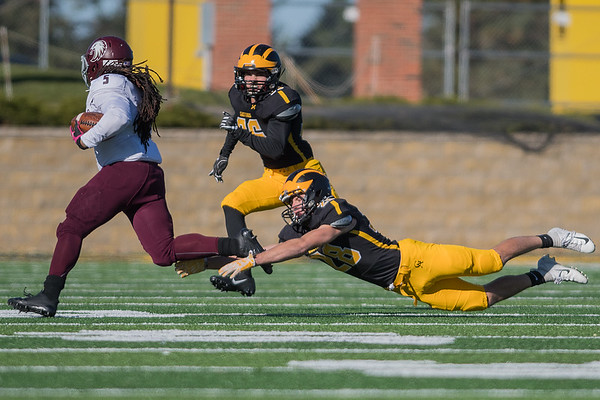 Gustavus' August Raarup tries to make a shoestring tackle on Augsburg's Keith Anthony in the second half of Saturday's game. The Gustavus defense held the Auggies to negative rushing yards until late into the fourth quarter. Photo by Jackson Forderer