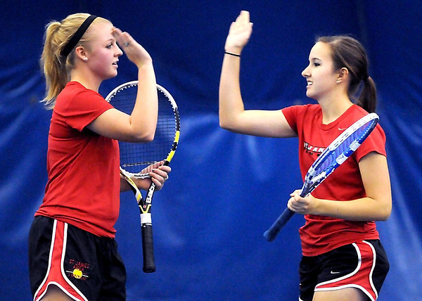 St. James number 3 doubles team of Morgan Rankin (left) and Cassidy Chapek.