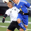 Pat Christman<br /> St. Paul Como Park's Hsa Moo (17) and Waseca's Luis Gonzales collide while going for the ball during the first half of their State Class A quarterfinal game Friday in St. Louis Park.