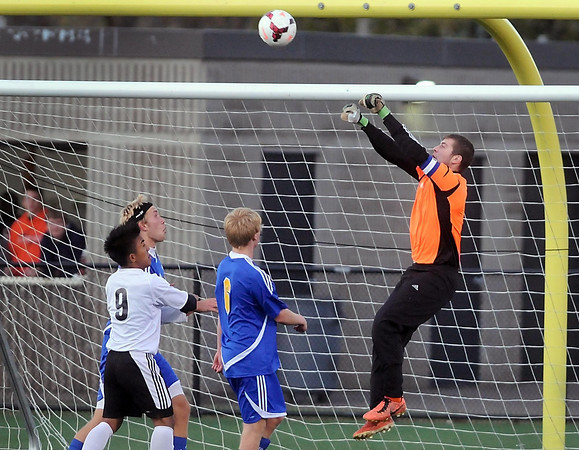 Pat Christman<br /> Waseca goalie Josh Metzdorff deflects a shot away from the net during their State Class A quarterfinal match against St. Paul Como Park Friday in St. Louis Park.