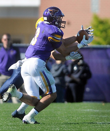 Pat Christman <br /> Minnesota State's Patrick Schmidt intercepts a pass intended for an Augustana receiver during their Oct. 12 game in Mankato.