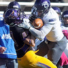 Pat Christman<br /> Winona State's Patrick Lazzara hits Minnesota State receiver Austin Rieder just as the ball arrives Saturday.