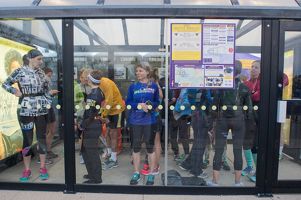 Participants in the Mankato half and full marathon wait to start their race on a chilly Sunday morning at Minnesota State University. Photo by Jackson Forderer