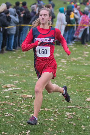 Beth Stevermer of United South Central nears the finish line at the Section 2A cross country meet held on Thursday. Stevermer finished in 7th place and qualified for the state meet. Photo by Jackson Forderer