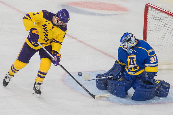 A puck bounces in the crease between Minnesota State's Jared Spooner and Alaska Fairbanks goaltender Anton Martinsson. The Mavericks won the game 4-0. Photo by Jackson Forderer