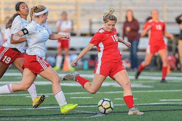 Mankato West's Lexi Peterson takes a shot on goal in the Section 2A championship game against Fairmont played in New Prague. Photo by Jackson Forderer
