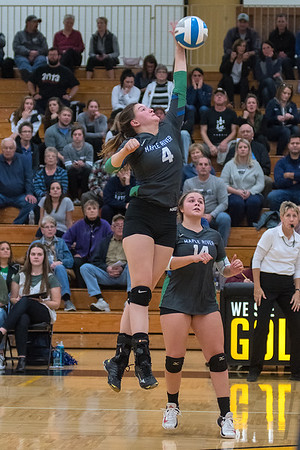 Maple River's Sophia Reeves goes up for a spike during the Eagles game against St. Peter in a Section 2AA playoff game. The Eagles lost to the Saints in four games. Photo by Jackson Forderer