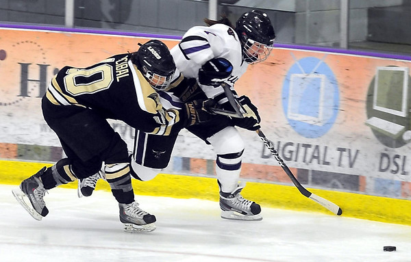 Lindenwood's Allysson Arcibal chases Minnesota State's Kelsie Scott during the second period Saturday at All Seasons Arena.