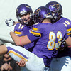Pat Christman <br /> Minnesota State quarterback Jon Wolf (11) celebrates a touchdown to take the lead in the fourth quarter with teammates Bryce Duncan (83) and Jeff Burns (30) Saturday.
