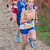 Waseca's Ella Dufault leads the first group of runners at the East Cross Country Invite on Tuesday at Minneopa Golf Course. Ella placed third at the meet while her sister Abbe placed in second. Photo by Jackson Forderer