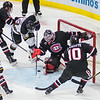 Minnesota State's Brad McClure is stopped from scoring a goal by St. Cloud State's goalie Jeff Smith. The Mavericks had their chances to score but were not able to score against St. Cloud in Saturday's game. Photo by Jackson Forderer