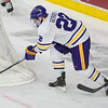 Dallas Gerads of Minnesota State scores a wrap around goal after stealing the puck away from Boston University goaltender Jake Oettinger in the third period. Gerads' goal was the game winning goal in the Mavericks 4-3 victory. Photo by Jackson Forderer