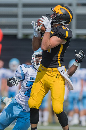 Josh Kirk of Gustavus makes a leaping catch while being defended by Westminster's Antoine Harris in the second half of Saturday's game. Gustavus easily won the game 38-0. Photo by Jackson Forderer