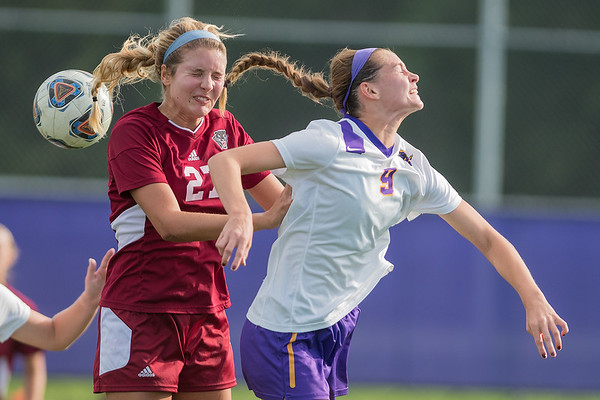 Minnesota State's Morgan Cottew flicks the ball past Sara Carroll of Florida Tech in the first half of Wednesday's game. The Mavericks came back from a 1-0 deficit and won 3-2. Photo by Jackson Forderer