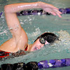Mankato West's Nicole Lohman swims during the 50-yard freestyle Thursday at the MSU pool.