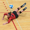 Kali Mathiasen of Bethany Lutheran watches the ball get airborne after making a diving save during BLC's match against University of Minnesota-Morris. The Vikings lost the match 3-1. Photo by Jackson Forderer