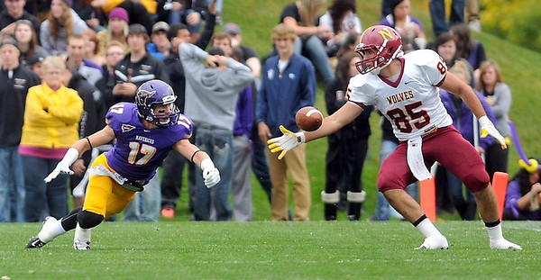 Pat Christman <br /> Minnesota State's Justin Otto tips a pass intended for Northern State's Connor Doherty during the first half Saturday.
