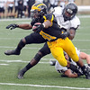 Pat Christman <br /> Gustavus Adolphus running back Jeff Dubose reaches for the end zone for a touchdown during the second half Saturday.