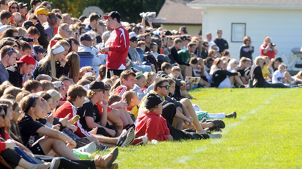 Pat Christman <br /> Mankato West and East soccer fans watch the boys teams play during Pack the Stands at the Thomas O. Anderson soccer fields.