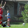 Pat Christman <br /> Mankato West's Madison Burandt celebrates a goal against Mankato East during the second half Saturday.