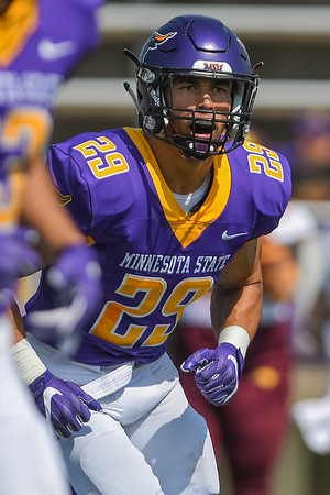 Minnesota State safety Jerry Nash III runs off the field after the Mavericks defense caused a turnover in a game against the University of Minnesota Crookston. Photo by Jackson Forderer