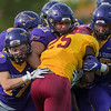 From left, Minnesota State's Jack Curtis (17), Brendan Chrystal (31) and Jerry Nash III stop Northern State's Chaka Kelly during a running play at Saturday's game played at Blakeslee Stadium. The Maverick defense held Northern State to zero points in their 36-0 win. Photo by Jackson Forderer