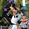 Minnesota State receiver Eric Clark can't reach a pass behind Bemidji State defender Charles Hrdlicka's head in the end zone during the first half Saturday at Blakeslee Stadium. Pass interference was called on the play.