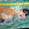 St. Peter's Casey Resmerski swims the freestyle leg of the 200 yard medley relay during a meet Thursday at the Mankato East pool.