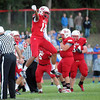 Pat Christman<br /> Mankato West's Braedan Myers celebrates a fourth-down stop during the first half Friday at Todnem Field.