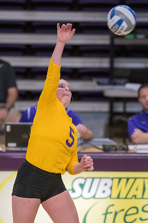 Minnesota State's Alivia Garbe hits a spike in a game against Gustavus played at Bresnan Arena. Garbe is a sophomore on the team from Maplewood, Minn. Photo by Jackson Forderer