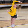 Micayla Porter of Minnesota State takes a jump serve in a volleyball match against Gustavus. Porter is a sophomore setter from Aubrey, Tex. Photo by Jackson Forderer