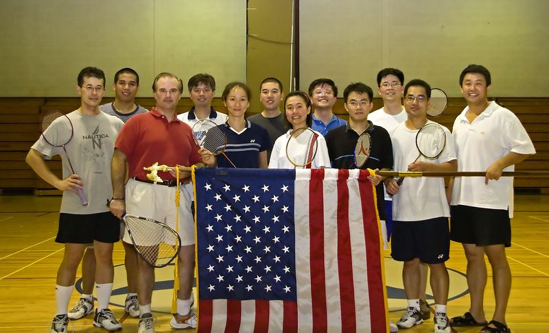 Patriotic badminton players