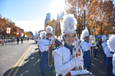 Senior Mackenzie Beach marches for the West Orange High School Marching Band in the 98th Annual Thanksgiving Day Parade. 11/23/17 Credit Thomas Lightbody