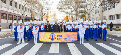 Members of the West Orange Warrior High School prepare to perform in the 98th Annual Thanksgiving Day Parade. 11/23/17 Credit Thomas Lightbody