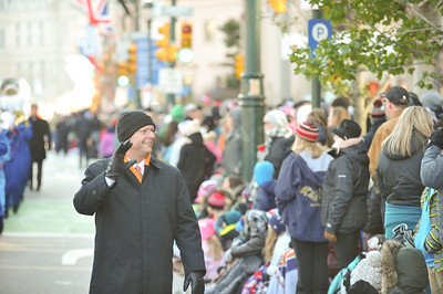 Band Director Mr. Ken Boyd of the West Orange High School Marching Band waves to the crowd in the 98th Annual Thanksgiving Day Parade. 11/23/17 Credit Thomas Lightbody
