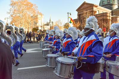 Members of the Percussion and Sousaphone sections of the West Orange High School Marching Band performs in the 98th Annual Thanksgiving Day Parade. 11/23/17 Credit Thomas Lightbody