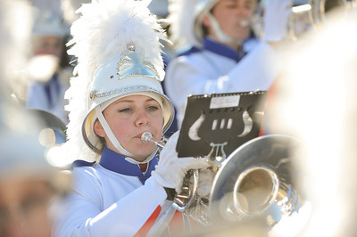 Junior Cassy Perrine marches for the West Orange High School Marching Band in the 98th Annual Thanksgiving Day Parade. 11/23/17 Credit Thomas Lightbody