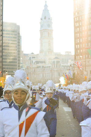 Members of the West Orange High School Marching Band, including Dani Stevens and Jordan Phillips perform in the 98th Annual Thanksgiving Day Parade. 11/23/17 Credit Thomas Lightbody