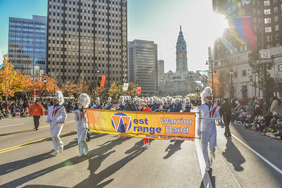 Members of the West Orange Warrior High School perform in the 98th Annual Thanksgiving Day Parade. 11/23/17 Credit Thomas Lightbody
